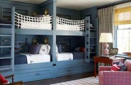 Charming Interesting Bunk Bed Designs For Kids Bedroom : Charming Awesome Bedroom Design Cool Blue Cradles Unique Bunk Beds Beatutiful Sea Themes Light Blue Spring Bed