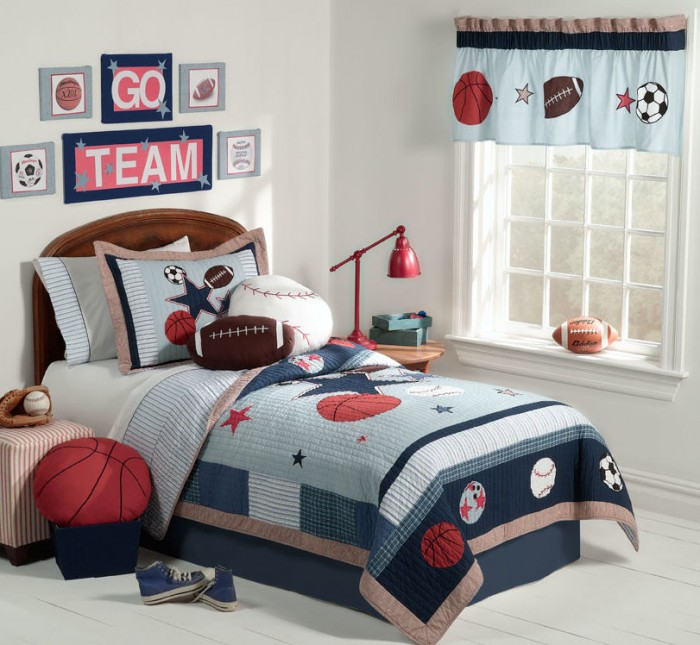 Innovative Boys Room Decoration with Unique Ideas: Charming Bold Color Sport Theme Classic Style Boys Room Designs Ideas Funny Curtain Enchanting Wall Decoratio
