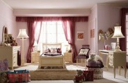Cool Teenage Girl Bedroom Design Ideas : Charming Classic Ambiance Unique Color Girls Bedroom Design Ideas With Lacquered Wood Bedroom Furniture Lamps Seats Cushions Rug Curtain Window Mirror And Wall Decor