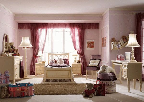 Cool Teenage Girl Bedroom Design Ideas: Charming Classic Ambiance Unique Color Girls Bedroom Design Ideas With Lacquered Wood Bedroom Furniture Lamps Seats Cushions Rug Curtain Window Mirror And Wall Decor