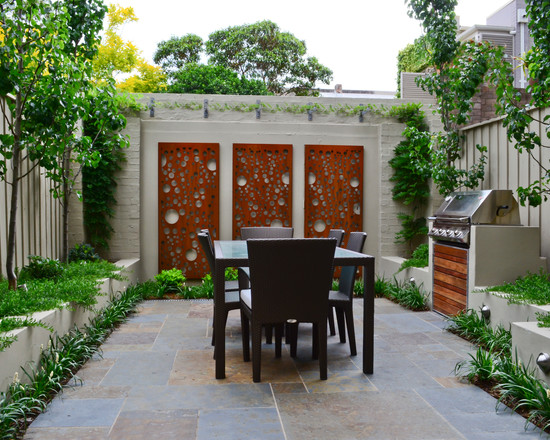 Inspiring And Innovative Decorative Screening Panels: Charming Contemporary Patio Decorative Screening Panels Garden Al Fresco Dining Area And Wall Screen With Dark Wooden Dining Table And Chairs