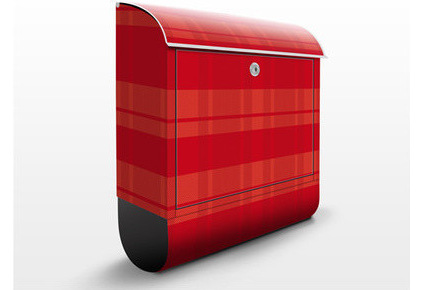 Miscellaneous Fence Mounted Mailbox : Charming Design Letterbox Checked Design Red Modern Mailboxes Covered With A Weatherproof And UV Resistant Plaid Vinyl Film