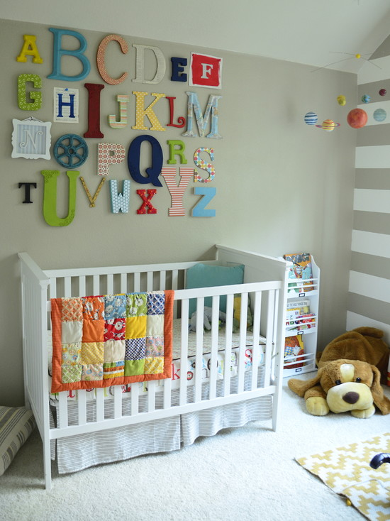 Quilt Designs For Babies Room: Charming Eclectic Kids With Alphabet Wall Art White Cradles And Handmade Quilt And Puppies Dool