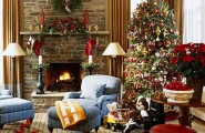 Beautiful Living Rooms Christmas Decoration Ideas : Charming Holiday Decoration Beautiful Christmas Living Room Interior With Colorful Christmas Tree Decoration And Plants Decor On Slate Wall Of Fireplace
