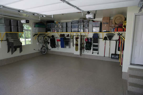 Ideas To Create An Organized And Modern Looking Garage : Charming Ideas To Create An Organized And Modern Looking Garage With Grey Floor White Ceiling White Bicycle Inspiration For Garage Storage Systems