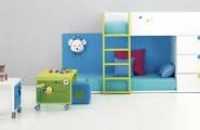 Space Saving Ideas: Various Bunk Beds Design Ideas : Charming Kids Bedroom Design White Blue Bunk Beds Integrated Chest Of Drawer And On Wheel Desk And Yellow Ladder Ideas