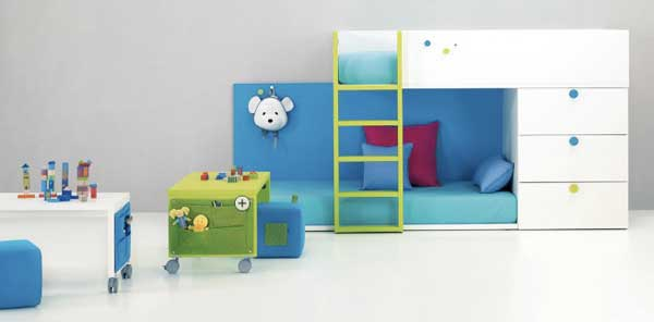 Space Saving Ideas: Various Bunk Beds Design Ideas: Charming Kids Bedroom Design White Blue Bunk Beds Integrated Chest Of Drawer And On Wheel Desk And Yellow Ladder Ideas
