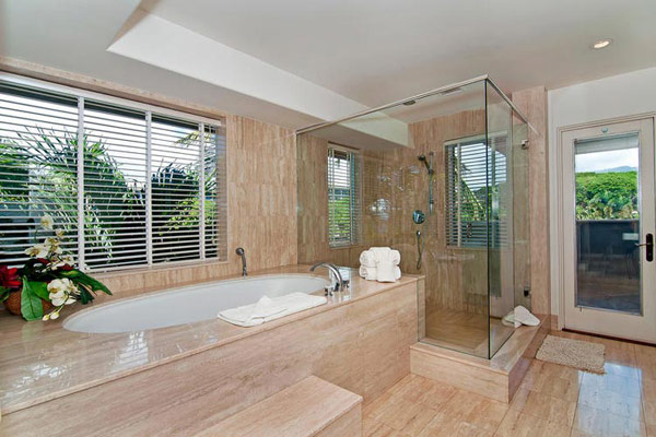 Tropical Gardens And Ultimate Villa Design In Maui, Hawaii: Thousand Waves Holiday Villa : Charming Light Brown Scheme Marble Open Shower Bathroom Interior Design With Beautiful Maui Natural Landscape View Large Glass Window And Blind Ideas