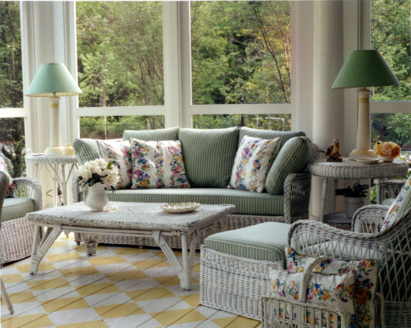 Inspiring Flooring Design Ideas : Charming Living Room Interior Design With Yellow White Hand Painted Wood Flooring Ideas And Rattan Sofa Table Lamps Large Window Backyard View