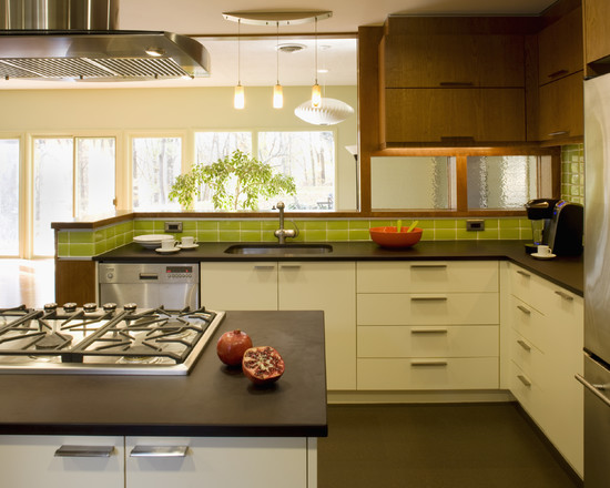 Creative Recycled Paper Countertop : Charming Modern Kitchen Recycled Paper Countertop Sandhill Recycled Glass Backsplash Recycled Rubber Cork Floors Green Certified Crystal Cabinets GlassTile A Handmade American Crafted