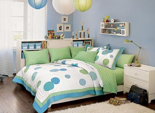 Cozy And Fun Tween Girl Bedroom Interior Ideas: Charming Pale Blue Cool Bedroom Ideas For Tween Girls With Green Bed Sheets And Pillow And Bedcover With Bedside Table Lamp And Shelves With Lampion Pendant Light And Rug On Wooden Floor
