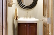 Captivating Bathroom Vanity Ideas For Small Bathrooms Design : Charming Small Bathroom Vanities Design With Black Color Wood Frame Round Mirror And Cabinet Ideas