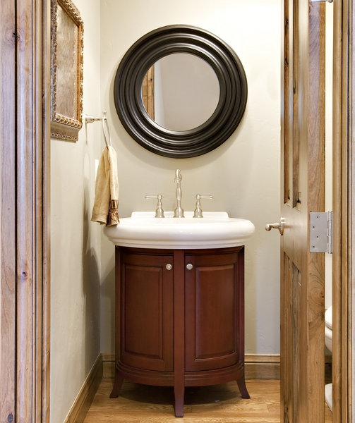 Captivating Bathroom Vanity Ideas For Small Bathrooms Design: Charming Small Bathroom Vanities Design With Black Color Wood Frame Round Mirror And Cabinet Ideas