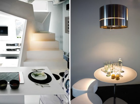 Fascinating Small Apartment Futuristic Interior Design Ideas : Charming Small Studio Apartment Futuristic Sharp Angle Stairs Simple Modern Round Dining Table With Chrome Finishing Drop Lamp