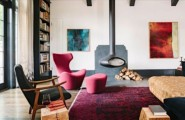 Traditional Home With Vintage Touches From A Library : Charming Traditional Home With Vintage Touches From With Custom Wooden Ceiling And Built In Office Shelving For A Traditional Aestheti And Living Room Decor Red Fur Rug