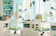 All Kind Of Modern Study Room Furniture Design : Charming Twin Child Study Room With White Wooden Desk And White Wooden Furniture Also Aqua Blue Wall And Striped Area Rugs And Backyard View White Window