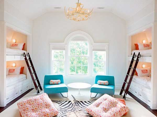 Space Saving Ideas: Various Bunk Beds Design Ideas : Charming White Dorm Bedroom Design With Built In Bunk Beds White Victorian Window Zebra Rug