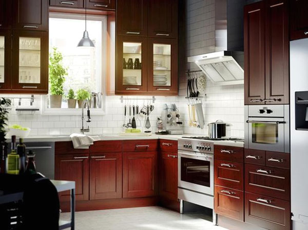 Use A Kitchen Subway Tiles For Lovely Effect Ideas: Charming White Subway Tiles Amongs Modern Wooden Kitchen Cabinet