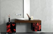 Bathroom Vanity Inspiration: Stylish Contemporary Bathroom Vanities : Charmiong Contemporary Bathroom Vanities Design With Mirror Vessel Sink Cabinet And On Wheel Storage And Wall Decor Ideas