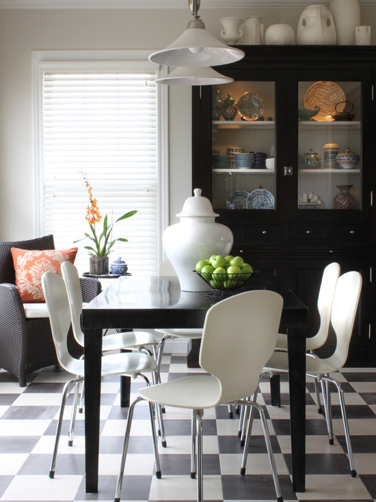 Inexpensive Or Cheap Retro Furniture Pictures: Cheap Chairs Existing Furniture At Contemporary Dining Room With A Black Table With White Chairs Is A Great Way To Use The Floor Without The Room Feeling Kitschy ~ stevenwardhair.com Furniture Inspiration