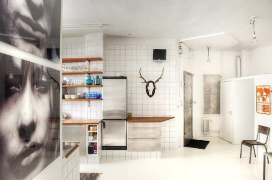 Original Scandinavian Apartment's Interior With Play Of Materials And Colors: Chick City Theme Kitchen With White Tiles As Wall And Large Adorning Andy Warhol Like Black And White Photograph Moose Head Wall Decoration