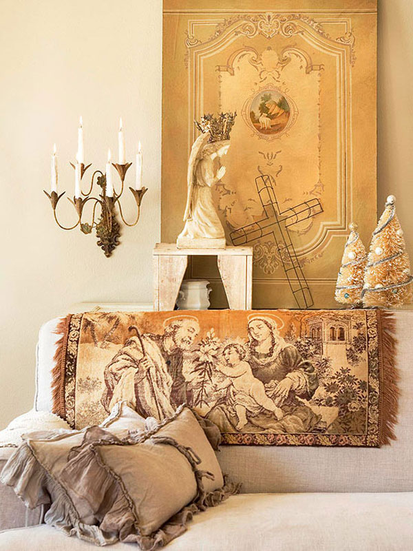 Give The Christmas Spirit into Your Living Room: Christmas Spirit Of Cream Living Room With Brown Color Scheme Christmas Ornaments ~ stevenwardhair.com Holiday Decoration Inspiration