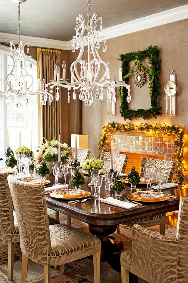 Give The Christmas Spirit into Your Living Room : Christmas Spirit Of Light Brown Living Space With Green And Yellow Theme Christmas Decoration
