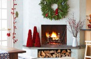 Give The Christmas Spirit into Your Living Room : Christmas Spirit Of White Living Room With Red Green Color Christmas Decoration