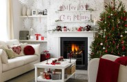 Give The Christmas Spirit into Your Living Room : Christmas Spirit Of White Modern Living Room With Red And Green Color Christmas Decoration