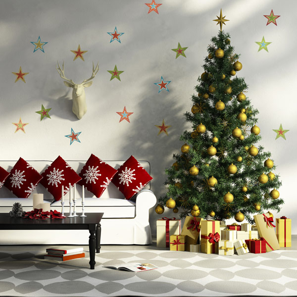 All Kind Of Christmas Holiday Wall Decals: Christmas Stars Wall Decals With White Sofa And X Mas Tree And Gift