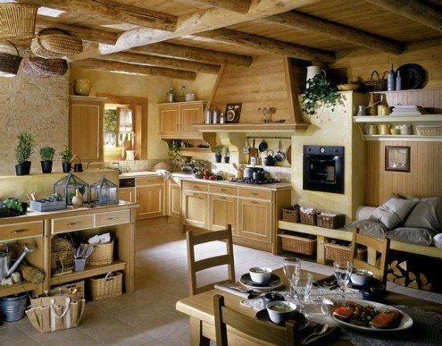 Striking Wooden Furniture In A Lustrous Kitchen: Classic And Romantic Spacious French Style Kitchen With All Wooden Furnitures And Wood Ceiling