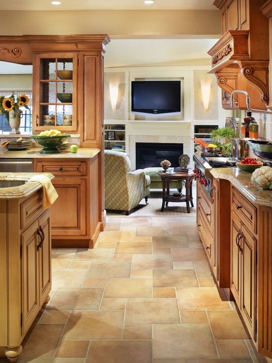 Extraordinary Tile Floor Designs For Kitchens: Classic And Traditional Kitchen With Family Room Beyond Custom Fabricated Fireplace Amazing Color And Style Of Floor Tiles