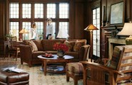 Comfortable Living Room Ideas for Modern Design : Classic Brown Sofa Classsic Standing Lamp Brown Leather Sofa Great Living Room And Stylish With These Chic Living Room Design