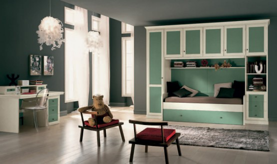 Classic Touchs Girls Room Design Ideas: Classic Girls Room Design Classic Green And Brown Furniture And An Elegant Chandelier