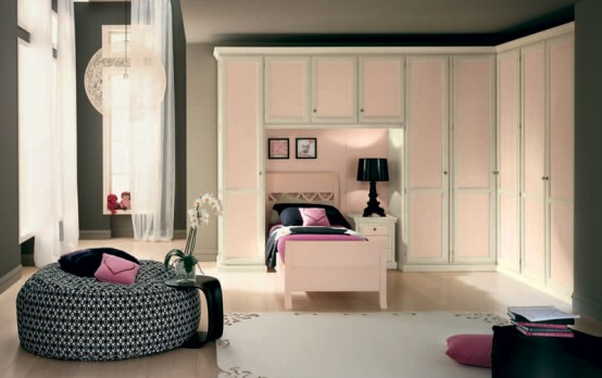 Classic Touchs Girls Room Design Ideas: Classic Girls Room Design With Big Round Cabinet With Singe Bed And Bay Window