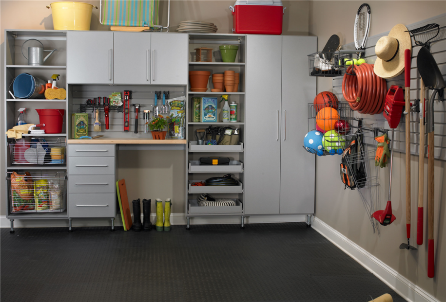 Ideas To Create An Organized And Modern Looking Garage : Classic Hat Black Floor Orange Pots Modern Garage Storage Systems