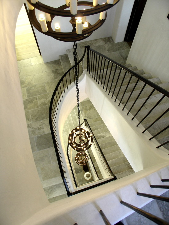 Floor Tiles Stairs Design Ideas: Classic Mediterranean Staircase With Floor Tiles Stairs And Railing Plus Hanging Candle Holder