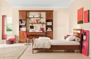 Classic Touchs Girls Room Design Ideas : Classic With Mature Furnishings And A Soft Feminine Color Palette Girls Room Design With Wooden Single Bed And Study Table With Built In Bookshelf Using Fur Rug