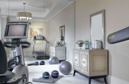 Atonishing In House Gym Space Design For Urban Living : Clean Bright Home Gym Designs With Portable Fitness Equipment Training Equipments Vintage Drawer And Mirror Large Mirror
