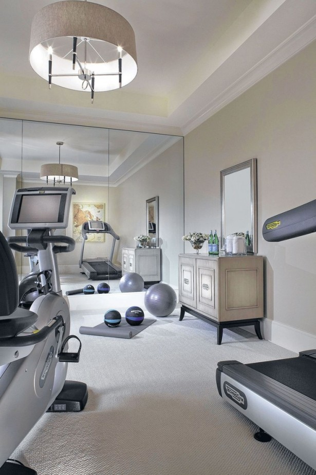 Atonishing In House Gym Space Design For Urban Living: Clean Bright Home Gym Designs With Portable Fitness Equipment Training Equipments Vintage Drawer And Mirror Large Mirror ~ stevenwardhair.com Bookshelves Inspiration