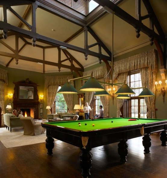 Outstanding Billiard Room Designs For Family: Clean Crisp Modern Billiard Room Designs With Traditionally Designed With A Rectangular Shape And Green Mat And Exposed Wood Ceiling ~ stevenwardhair.com Design & Decorating Inspiration