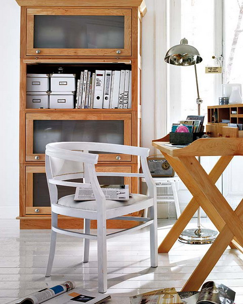 Charming And Thoughtful Home Office Storage Ideas : Clean Modern Thoughtful Home Office Storage Solution Ideas With Wood Filling Cabinet And Folded Desk With Plastic Chair And Wood Floor Design