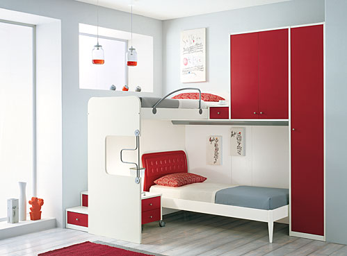 Terrific Space Saving Designs for Small Room Layouts Ideas : Clever Ideas For Amuzing Purple Themed Teenage Girls Bedroom Ideas With Soft Purple Bed And Wardrobe And Cabinets With Bay Window