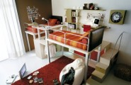Terrific Space Saving Designs for Small Room Layouts Ideas : Clever Ideas For Small Room Layouts For Using Space Room With Bunk Bed With Staircase And Study Desk With Wall Decoration And Fur Rug With Puff
