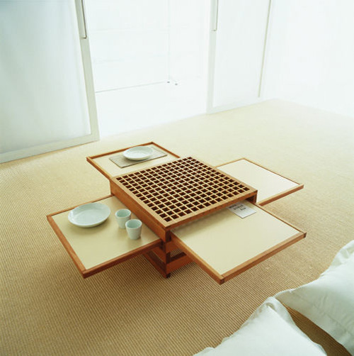Terrific Space Saving Designs for Small Room Layouts Ideas: Clever Ideas For Small Room Layouts Japanese Tea Table That Can Be Pulled To Add More Space With Table Decoration