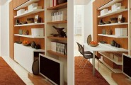Terrific Space Saving Designs for Small Room Layouts Ideas : Clever Ideas For Small Room Layouts With Built In Custom Cool Cabinet Also As Bookshelves With Folded Table For Study And TV