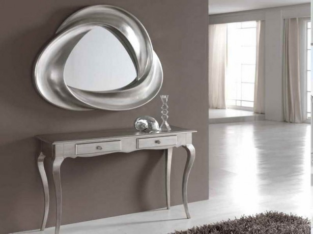 Inspiring Entryway Furniture Design Ideas: Coll Silver Theme Entryway Decoration With Neat Silver Entryway Tables And Unique Framed Irrors Design ~ stevenwardhair.com Hallway & Entryway Inspiration