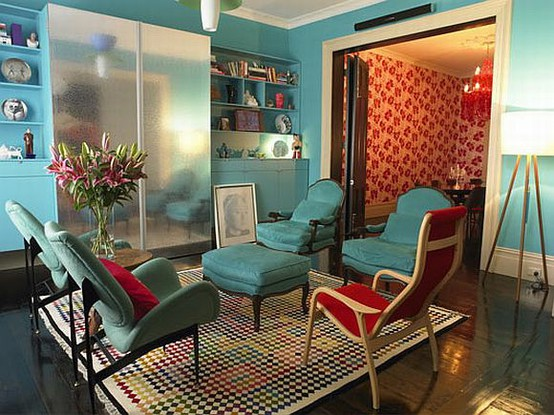 Modern Colorful Livingroom: Colorful Calm Blue Themes Living Room Design With Old Fashion Chairs With Light Green Desk And Chair And Bookcase And Colorful Fur Carpet