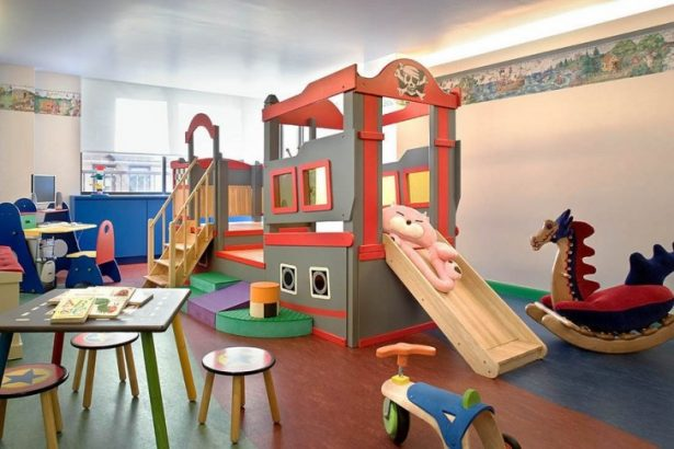 Inspiring Teenage Rooms Ideas for Their Little Plessure: Colorful Cozy Kids Playroom Ideas Indoor Sliper Learning Desk Playground Decoration Room Ideas ~ stevenwardhair.com Bed Ideas Inspiration