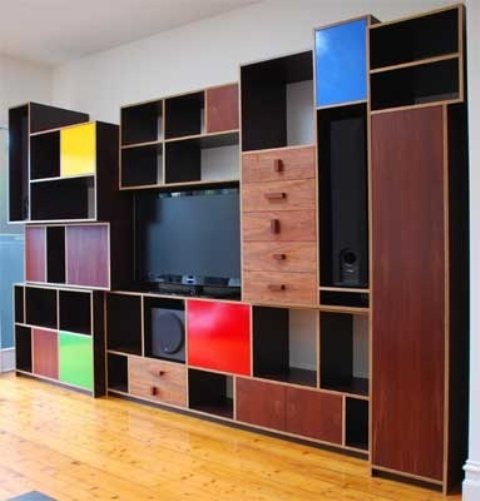 Materials And Designs Selection For Tiny Room To Utilize The Space: Colorful Materials And Designs Selection For Tiny Living Room Design To Utilize The Space With Wooden Mounted Big Cabinet And Laminated Floor Design